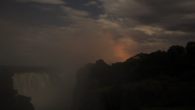 Medium wide angle blue sky and clouds race away from camera across top of Falls with rising spray as gradually evening becomes night