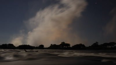 Mid shot looking across motion blur water above Falls by moonlight with spray cloud rising from Falls behind