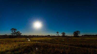 Wide angle shot of moon rising over Okavango Delta, Botswana