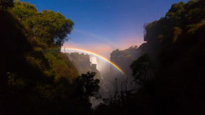 Double Lunar Rainbow rise, Victoria Falls, Night-sky