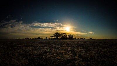 Nxai Pans, Baines Baobabs, Moonrise
