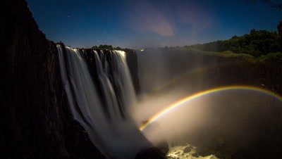 Wide angle shot, low angle, double moonbow rise, main falls cataract island