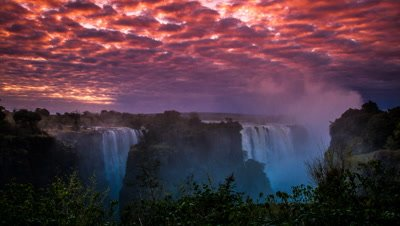 Overcast dawn colours, Main Falls Cataract Island, Victoria falls