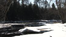 River In Spring, Ice Blocks On Rocks, River Flowing, Winter Breakup