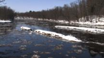 River In Spring,Trees In Riverbottom, Ice Flowing, Winter Breakup,Zoom Out