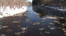 River In Spring, Ice Flowing, Winter Breakup