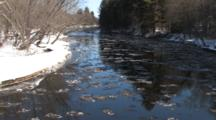 River In Spring, Ice Flowing, Winter Breakup, Trees Reflected