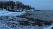 Frozen, Sandy Beach, Zoom To Ice Capped Shelf In Lake Superior