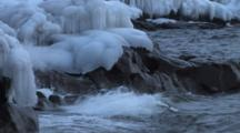 Waves Breaking On Lake Superior North Shore, Ice Capped Rocks