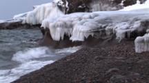 Icy Cliffs And Waves, Lake Superior North Shore, Zoom To Cu Icicles Formed By Waves