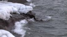 Lake Superior Northern Shorline, Zoom To Cu Water Erosion On Rocks, Ice
