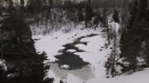Frozen River Valley, Water Flowing Through Ice, Lake Superior Tributary