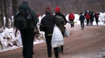American Birkebeiner, Pre-Race, Skiers Walking, Running Down Road To Start Line