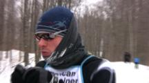 American Birkebeiner Racer, Getting Refreshments And Kiss From Wife, Continuing On Race