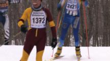 American Birkebeiner, Racers Coming Over Hill, Trail Through Wooded Area