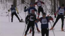 American Birkebeiner, Large Group Of Skiers Rounding Corner, Climbing Hill