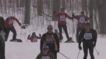 American Birkebeiner, Skiers Topping Small Rise On Trail In Snowstorm