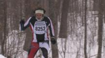 American Birkebeiner, Skier Climbing Hill, Pan Down Suit To Boots, Skis