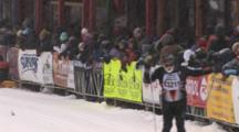 American Birkebeiner, Skiers At Finish Line, Pan Across Crowds, Spectators,  Lining The Street