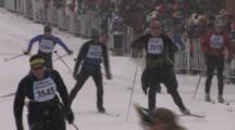 American Birkebeiner, Enthusiastic Skier Coming Toward Finish Line, Lots Of Energy Left