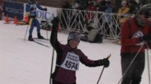 American Birkebeiner, Happy, Tired Skier Crossing Finish Line, Waving To Crowd