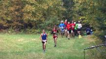 Beginning Racers Appearing From Wooded Copse, Running, Competing