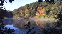 Autumn Colored Trees, Small Lake, Mist On Water
