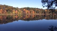 Autumn Colors Over Small Lake, Reflection In Blue Water