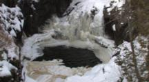 Icy River Canyon, Northen Minnesota, Zoom To Waterfall Behind Ice