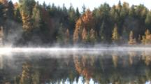 Mist Rising From Lake, Fall Colors, Tamarack Trees, White Pines