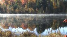 Morning Mist Moving Across Small Lake, Tamarack And White Pine Trees On Far Shore, Reflection