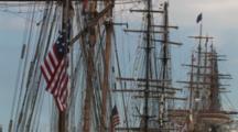 Masts, Rigging Of Tall Masted Sailing Ships, American Flag