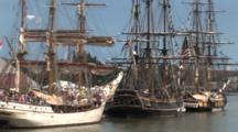Hms Bounty And Tall Masted Sailing Ships Anchored In Harbor, Lake Michigan