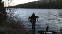 Stringer Of Live Fish, Brook Trout Fishing On Minnesota Lake