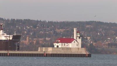 Iron Ore Ship Passing Lighthouse,Duluth Harbor,Lake Superior 2 minutes