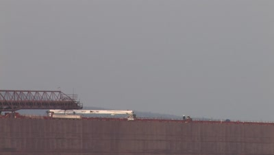 Men Walking Along Iron Ore Boat Out in Harbor,Lake Superior