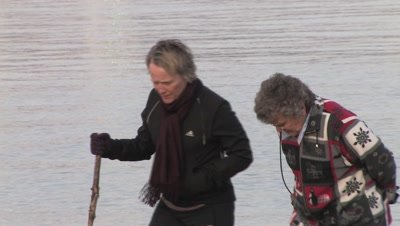 Women,Mother and Daughter,Walking Along Lake Superior Shoreline,Duluth Harbor