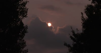 Setting Sun,Clouds,Smoke Haze in Sky,Light Breeze in Deciduous Trees