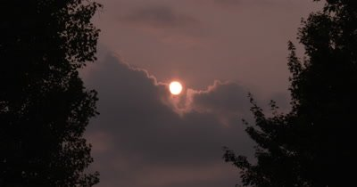 Setting Sun,Clouds,Smoke Haze in Sky,Light Breeze in Deciduous Trees