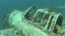 Wreck Of Small Airplane With Coral And Algae Growing. Palau, Pacific