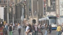 People In Square With Tram. Amsterdam. Netherlands
