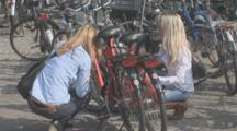Unlocking Bikes And Cycling Scene. Amsterdam. Netherlands