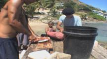 Whale Meat Carved Up. Bequia Island. St Vincent. Caribbean