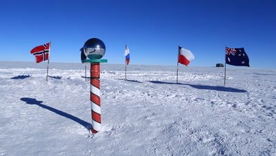 Mirrored globe at magnetic South Pole