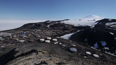 High angle pan over McMurdo Base, McMurdo Base, Ross Island, Antarctica