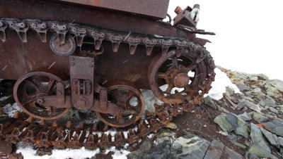 Derelict 'tank' used by Americans to carry supplies at Stonington American army base, Antarctic Peninsula, Antarctica
