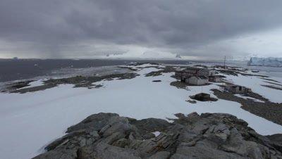 Very wide view of British Base at Stonington Island, Antarctic Peninsula, Antarctica