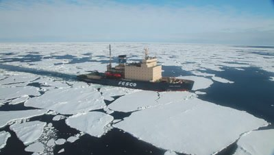 Aerial of icebreaker Kapitan Khlebmikhov in Antarctica. (wobbly), Phantom Coast, Antarctica