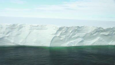 Aerial Ross ice shelf cliffs, Ross Sea, Antarctica