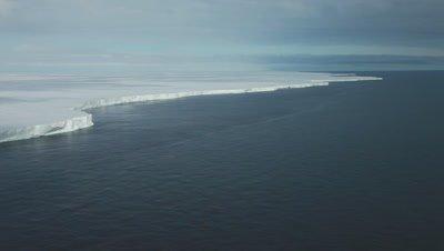 Aerial Ross Ice shelf, very wide, Ross Sea, Antarctica